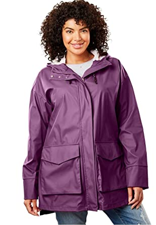 52090dee57c Amazon.com  Woman Within Plus Size High-Low Slicker Raincoat - Plum Purple