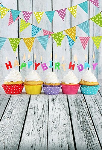 Baocicco Happy Birthday Backdrop Wood Board Backdrop Wood Plank Backdrop 3x5ft Cotton Polyester Photography Background Colorful Flag Banner Ice Cream Cakes Candle Light Children Party Portraits Shoot
