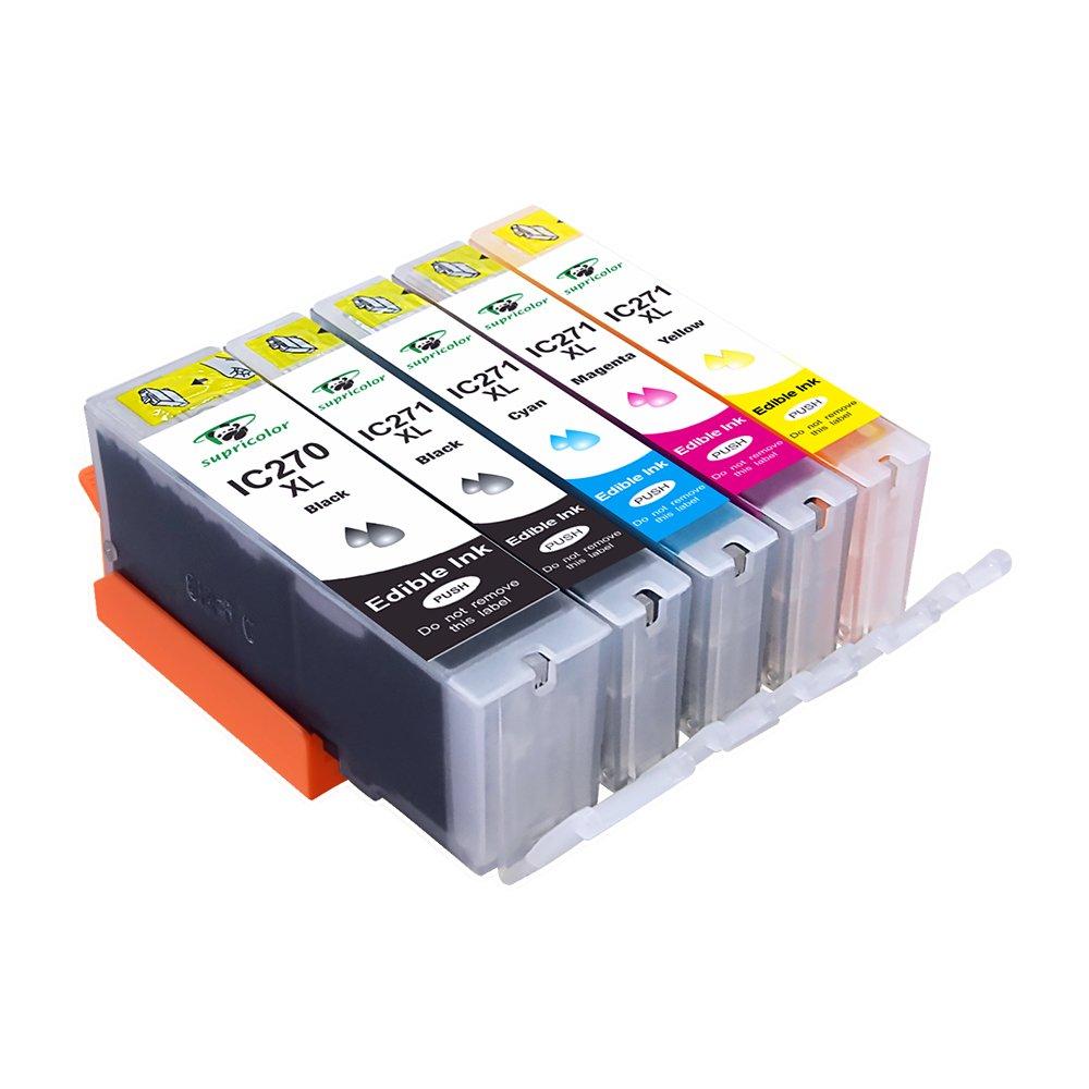 Supricolor 6 Pack Edible Ink Cartridge Replacement for PGI-270XL PGI 270 CLI-271XL CLI 271 Compatible with PIXMA MG7720 COMIN18JU023077