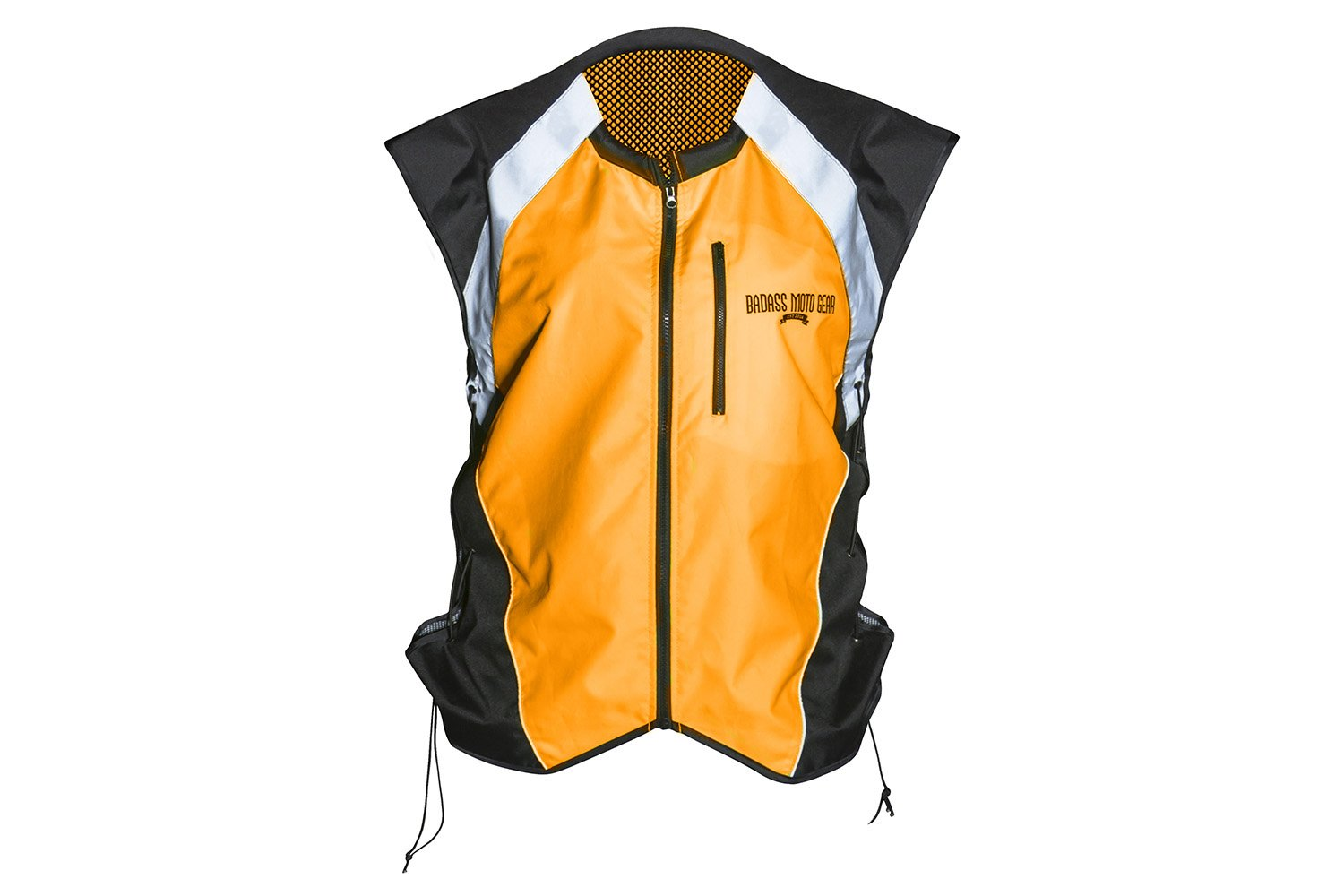 Badass Moto Gear Hi Vis Reflective Motorcycle Vest. Mil-Spec. No Logo, Fits Over Jackets. Adjustable Sides, Zipper Front & Pocket. Bikers, ATV, Hunting, Cycling, Military, XL BMGRV-Y-NL-XL