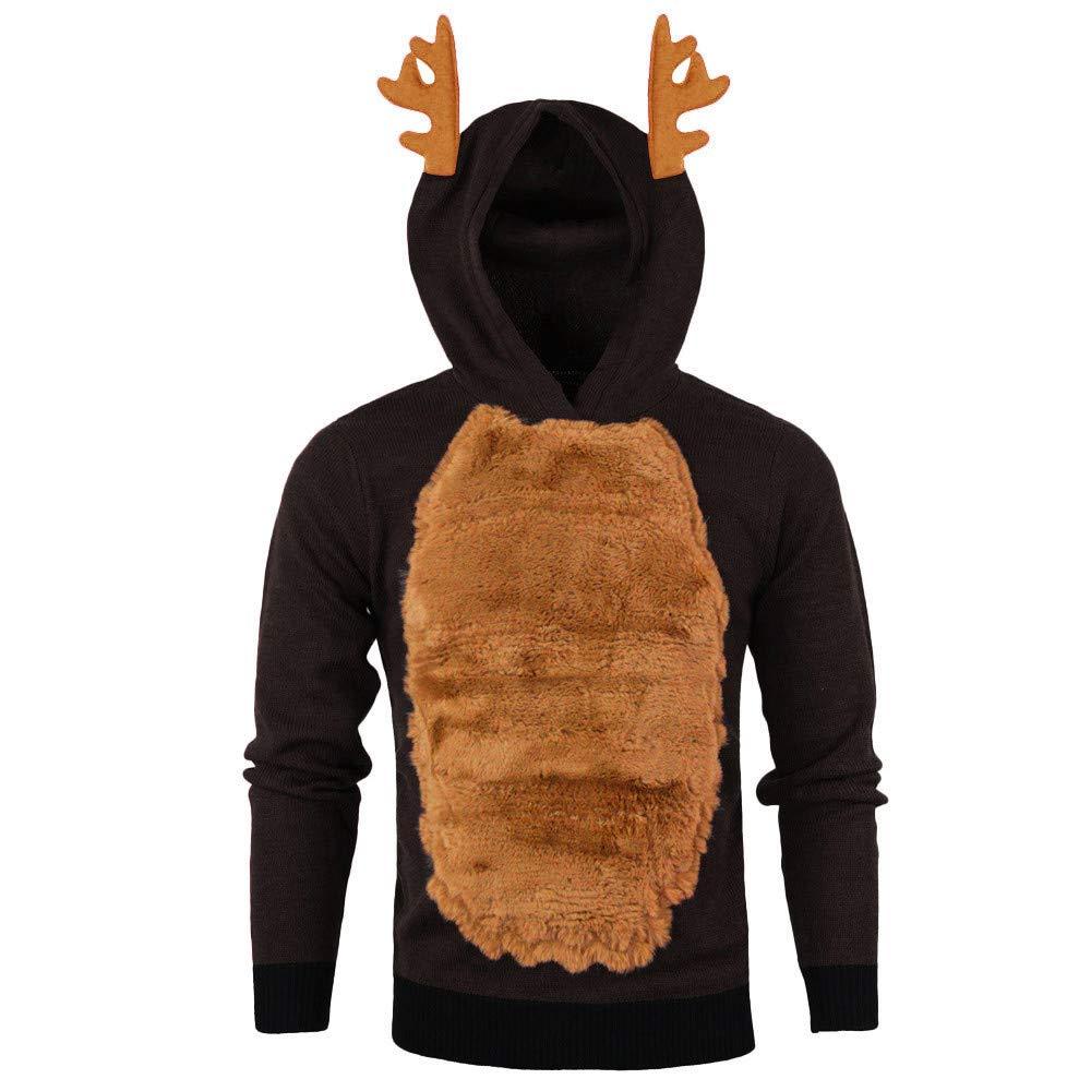 Kstare Men Autumn Winter Xmas Hoody Reindeer Feather Hooded Christmas Fleece 3D Tops M-3XL