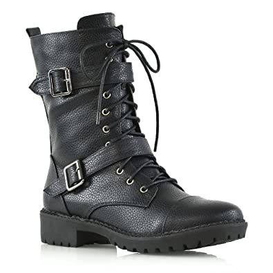ESSEX GLAM Womens Mid Calf Lace Up Zip Ladies Biker Block Heel Army Punk  Military Combat Boots  Amazon.co.uk  Shoes   Bags 92aa44a9f1