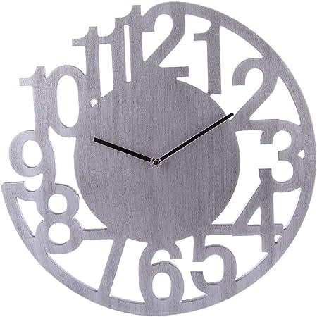 40CM Orologio da Parete Semplice Numerale Silenzioso Decorazione per Soggiorno Casa Ufficio Searchyou Argento