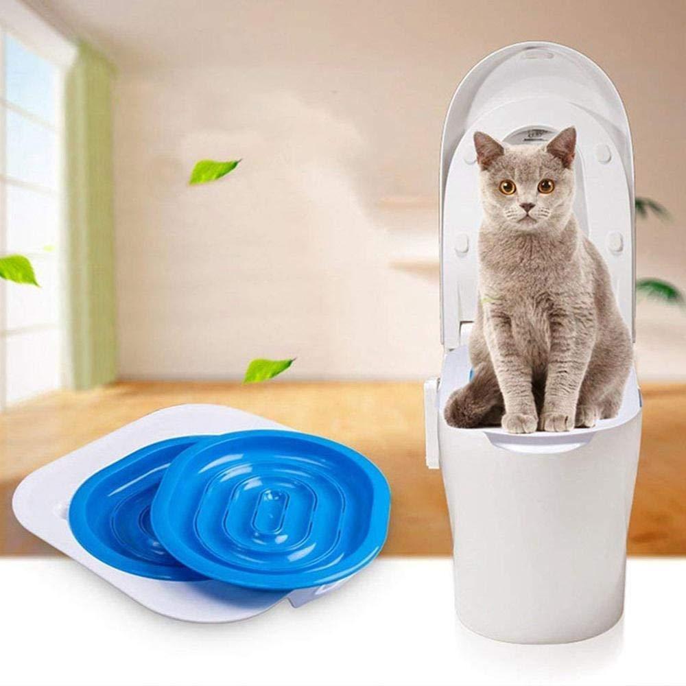 AUOKER Kit para el Entrenamiento de Gatos, Sistema de Entrenamiento de Gatos para Uso de Asiento del Inodoro, Incluye Hierba gatera y guía Detallada Paso a ...
