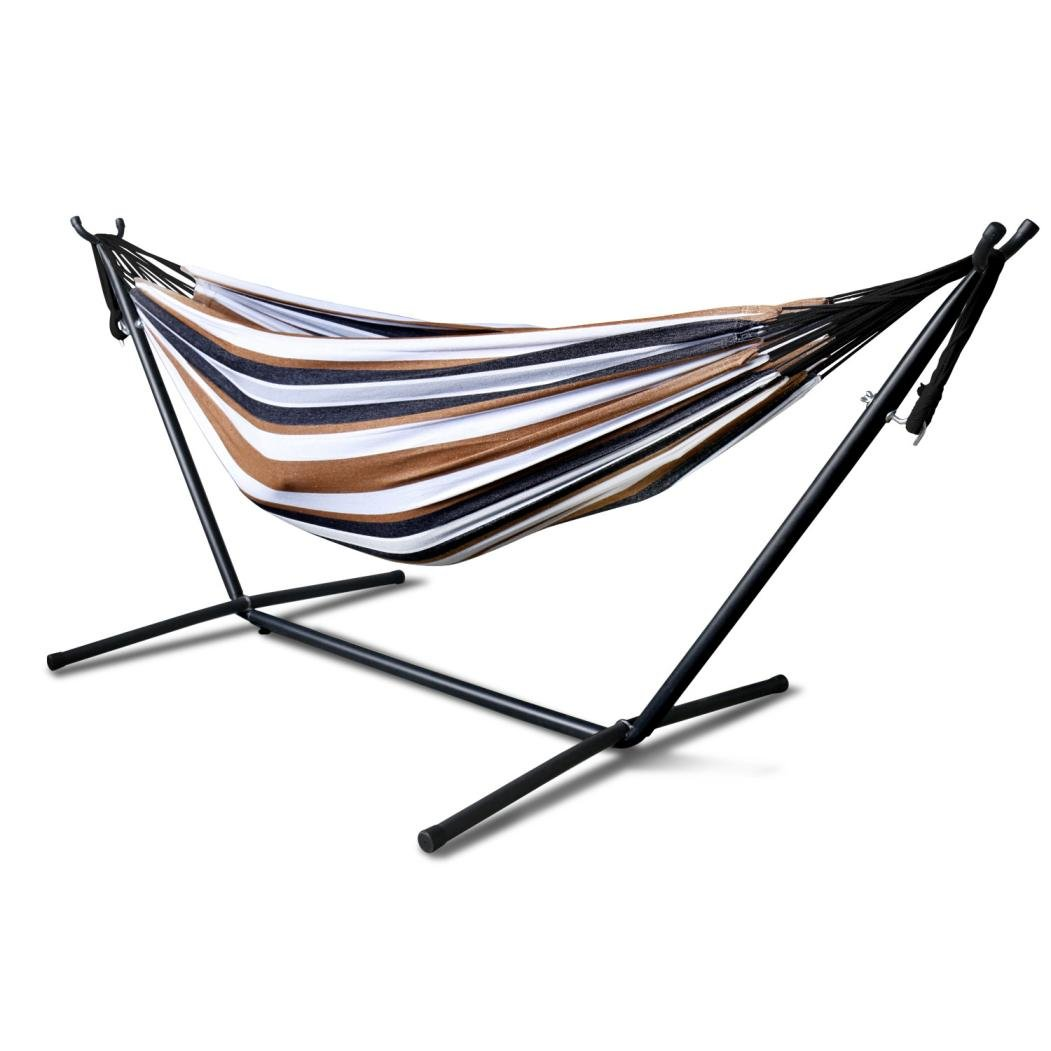 Double Hammock ,Hmlai Patio Yard and Beach Outdoor Double Hammock With Space Saving Steel Stand Up to 450lbs Includes Portable Carrying Case (Desert Moon)