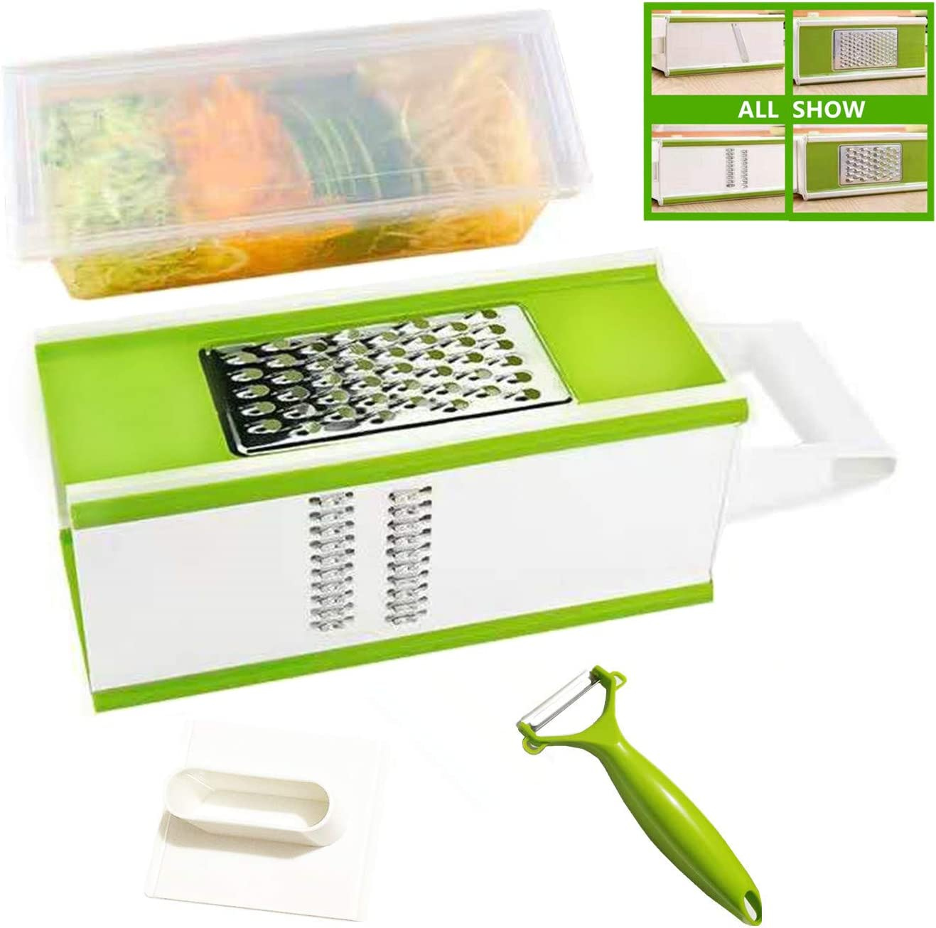 Multifunctional 4-Side Grater with Storage Box for Kitchen,Cheese Grater with Container,Box Slicer with Hand Chopper for Cheese Onion Tomato Patato