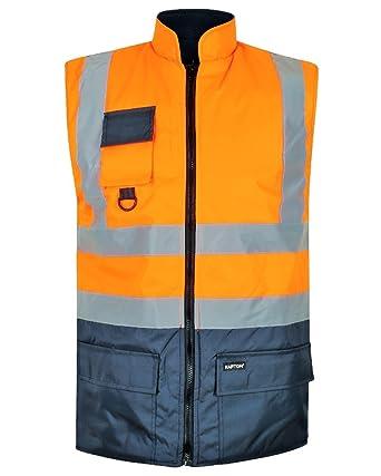 2a15c2170d7 HuntaDeal Hi Viz VIS Bodywarmer Fleece Lined 2 Tone Reversible High Visibility  Reflective Waterproof Workwear Safety Wear Warm Gilet Waistcoat Body Warmer  ...