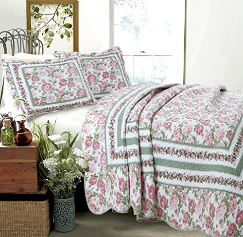 Cozy Line Home Fashions Rose Bush Quilt Bedding Set, Pink Rose Blooming County Floral Flower Printed 100% Cotton Reversible Coverlet Bedspread Gifts for Women (Garden, Queen - 3 Piece) from Cozy Line Home Fashions