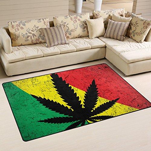 WellLee Area Rug 5'x3',Cannabis Leaf On Grunge Rastafarian F