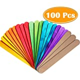"PAXCOO 100Pcs 6"" Popcicles Sticks Jumbo Craft Sticks Colored and Natural for Craft"
