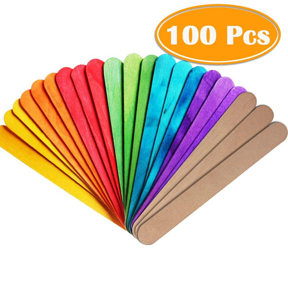 PAXCOO 100Pcs 6 Popcicles Sticks Jumbo Craft Sticks Colored and Natural for Craft