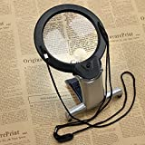 Tanice LED Magnifying Glass 2X 6X Reading Magnifier with 2 LED Light Hands Free for Reading, Crafts, Inspection, Needlework, Hobbies