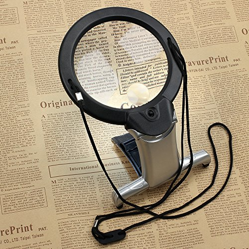 Tanice LED Magnifying Glass 2X 6X Reading Magnifier with 2 LED Light Hands Free for Reading, Crafts, Inspection, Needlework, Hobbies by Tanice