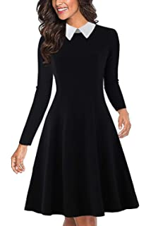 17b496bd350 Drimmaks Women s Long Sleeve Peter Pan Collar Swing A-Line Party Casual  Skater Dress