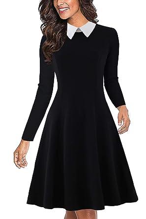 462e68606d4ee Drimmaks Women's Long Sleeve Peter Pan Collar Swing A-Line Party Casual  Skater Dress