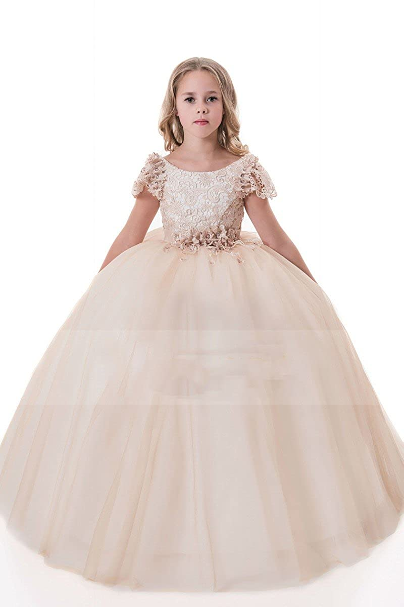 4ecc2a4a7ce Long Sleeve Champagne Puffy Lace Flower Girl Dress