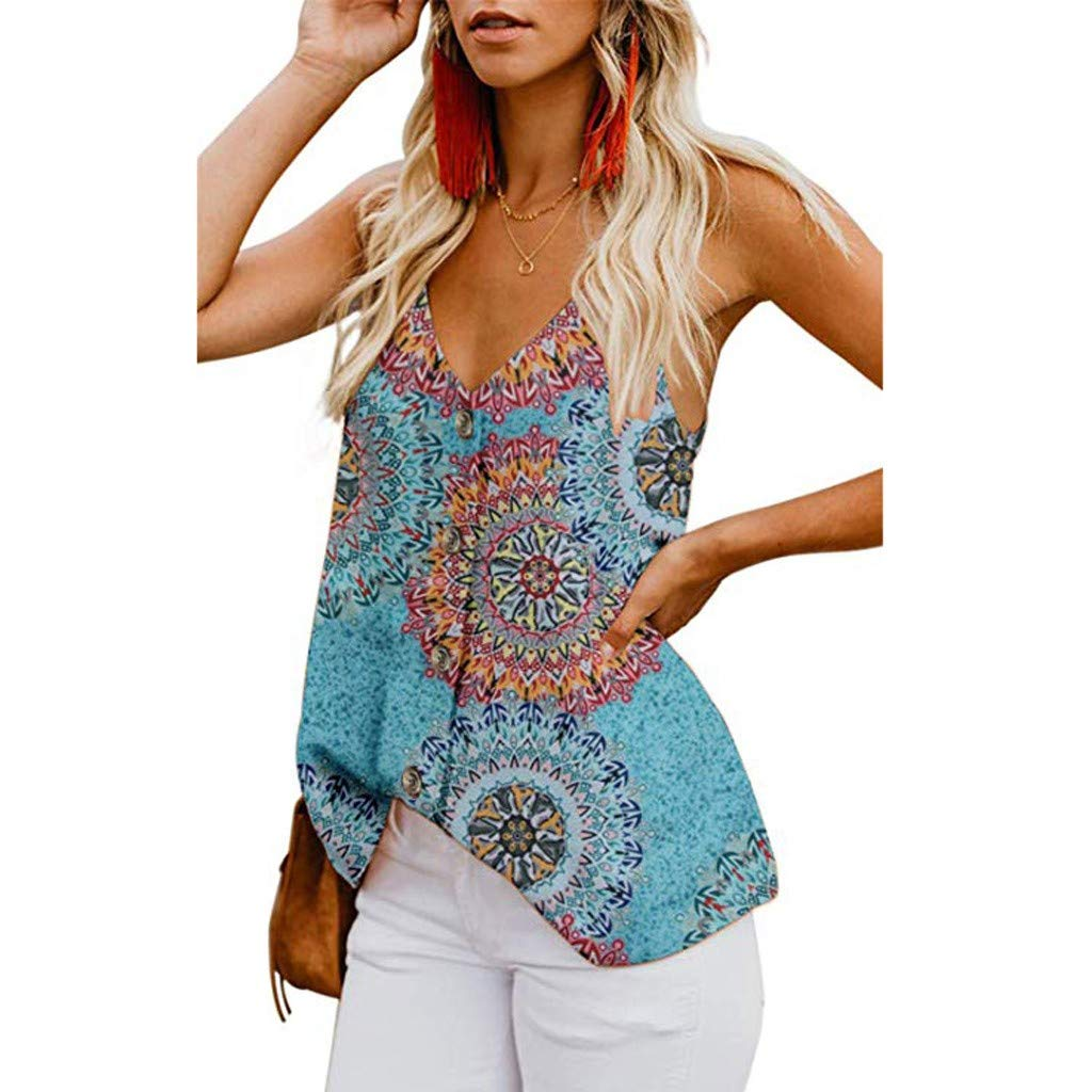 Witspace Womens Button Down V Neck Strappy Print Tank Top Loose Casual Sleeveless Shirts