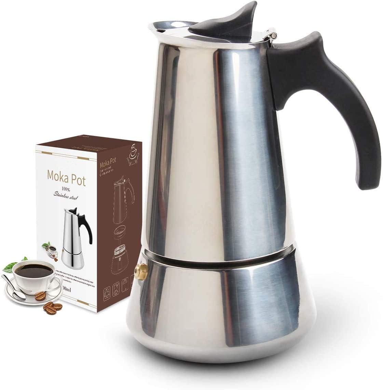 Resnnih Cafetera Italiana, Cafetera Espresso Induccion en Acero Inoxidable, Induccion 6 Tazas (300ml)