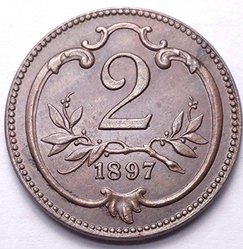 HUNGARY 1897 2 FILLER...FOREIGN COIN (1897 Coin)