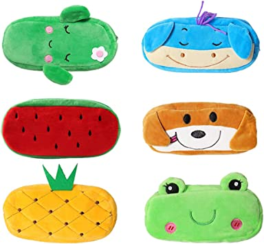 6 Pack Cute Pencil Case, MERYSAN Cartoon Plush Pencil Pen Pouch with Zipper for Girls Boys School Stationery Organizer Cosmetic Bag - 7.87 x 3.94 inches (Version 1)