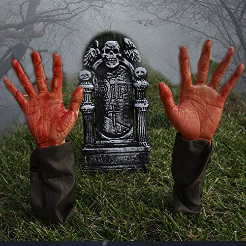 Halloween Zombie Graveyard (Halloween Party Outdoor Lawn Yard Decoration Realistic Looking Bloody Zombie arms hands Set Includes Two 17'' Stakes and a 16'' Foam RIP Graveyard Gravestone Tombstone Haunted House Decor)