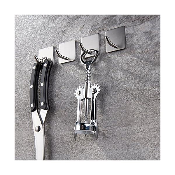 61YysWTdd3L Haken Selbstklebende Handtuchhaken ohne Bohren Wandhaken 4 Stk Klebehaken Edelstahl für Küche und Bad, von Ruicer