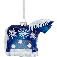 Trail of Painted Ponies from Enesco Snowflake Glass Christmas 3.2 in