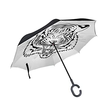 ALINLO Paraguas invertido Divertido con Cara de Tigre Animal ...