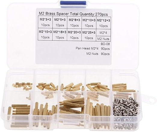 270 Piezas M2 separadores de latón Standoff Circuit Board PCB Tuerca Tornillos Surtido Kit: Amazon.es: Jardín