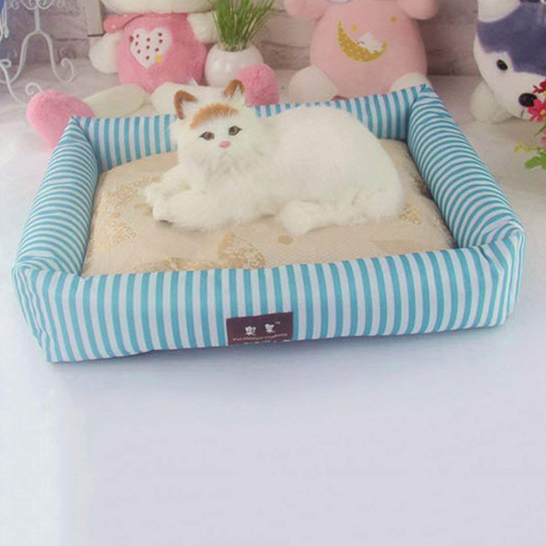 IANXI Home Summer Dog Bed Pet Cooling Sleeping Mat Cat Bed Cushion bluee L for Cat Dog