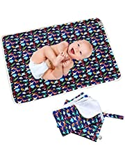 Flockthree Waterproof Baby Diaper Changing Pad with Storage Bag Washable Wipeable Reusable Leak Proof Diaper Travel Mat Station Changing Mattress Liner Cribs Bed Cover