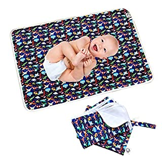 "Flockthree Waterproof Baby Changing Pad with Storage Bag (28.7"" X 19.7"") Washable Wipeable Reusable Leak Proof Diaper Travel Mat Station Changing Mattress Liner Cribs Bed Cover, Aircraft"