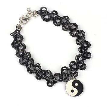 Malloom® tatuaje Tai Chi Yin Yang collar de gargantilla tramo doble Capa negro Retro alheña