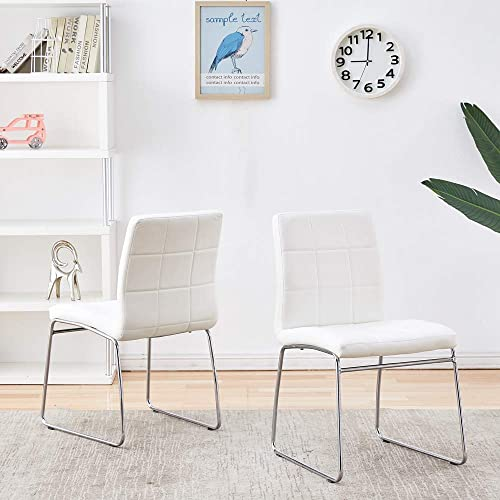 Modern Dining Chairs Set of 2, Dining Room Chairs with Faux Leather Padded Seat Back in Checkered Pattern and Sled Chrome Legs, Kitchen Chairs for Dining Room, Kitchen, Living Room, White Chairs