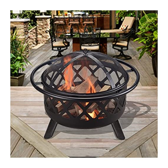 """Peaktop CU296 Round Steel Charcoal Wood Burning Fire Pit Bonfire with Spark Screen and Fireplace Poker for Outdoor Patio Garden Backyard Decking, 30.0"""", Black - Featured with CSA certified burner. Built for charcoal and wood burning. The decorative fire pit integrate into your patio décor while the design structure ensures long term durability. Carefully made to provide you and all of your guests with warmth for those Unforgettable summer nights. Includes a poker and spark screen. A grilling grate is not included. - patio, outdoor-decor, fire-pits-outdoor-fireplaces - 61YyuQATx3L. SS570  -"""