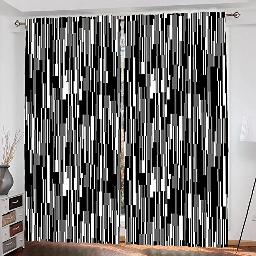 Black and White Custom design Barcode Pattern Abstraction Vertical Stripes in Grayscale Colors curtain Living Room Bedroom Window Drapes 2 Panel Set 108