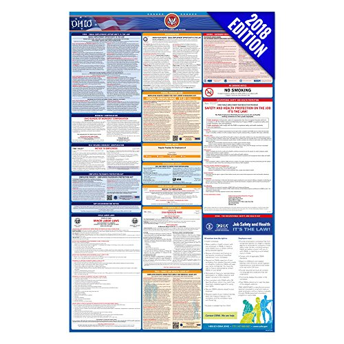 2018 Ohio Labor Law Poster – State, Federal, OSHA Compliant – Laminated Mandatory All in One Poster by Labor Law Center Official