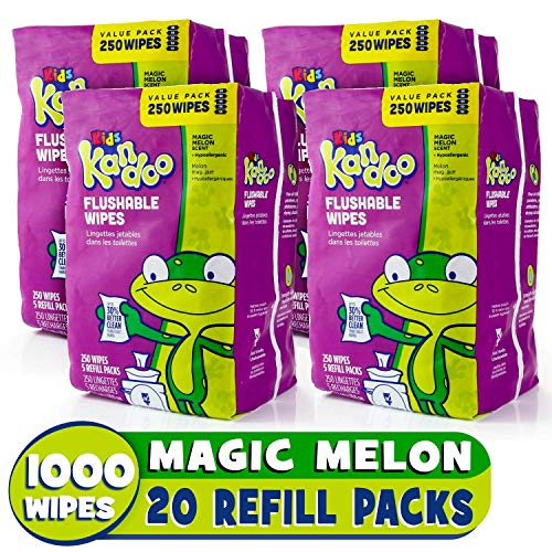 Flushable Baby Wipes for Kids, Magic Melon by Kandoo, Potty Training Wet Cleansing Cloths Refills, 250 Count per Pack, Pack of 4