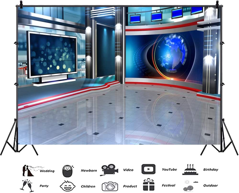 YEELE 10x8ft TV Studio Backdrop Media Television Room Screen Camcorder Broadcast Monitor Global News Photography Background Kids Adults Vlogger Portrait Photobooth Props Digital Wallpaper