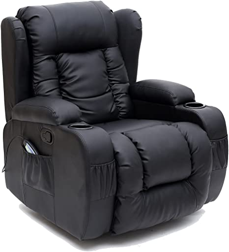 More4Homes CAESAR 10 IN 1 WINGED RECLINER CHAIR ROCKING MASSAGE SWIVEL HEATED GAMING BONDED LEATHER ARMCHAIR (Black)