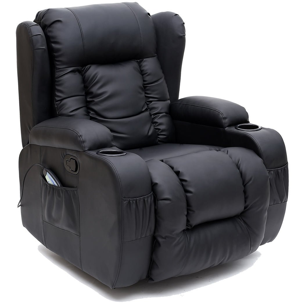Wonderful CAESAR 10 IN 1 WINGED LEATHER RECLINER CHAIR ROCKING MASSAGE SWIVEL HEATED  GAMING ARMCHAIR (Black): Amazon.co.uk: Kitchen U0026 Home