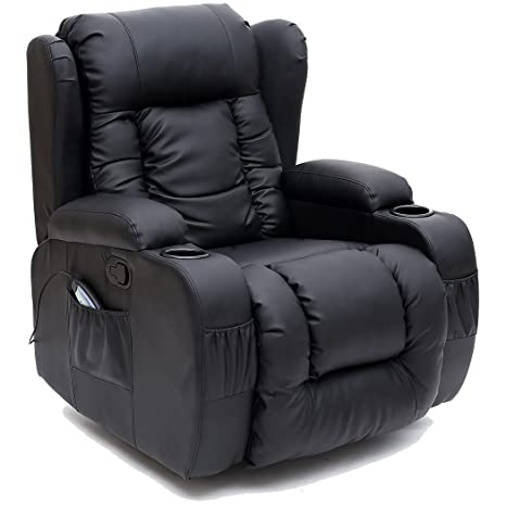 Terrific More4Homes Tm Caesar 10 In 1 Winged Recliner Chair Rocking Massage Swivel Heated Gaming Bonded Leather Armchair Black Gamerscity Chair Design For Home Gamerscityorg