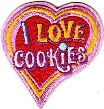 """Baking,Cookie /""""I LOVE COOKIES/"""" HEART//Iron On Embroidered Patch //Food Dessert"""