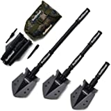 OutShovel Military Folding Shovel with Bag Multi Purpose for Camping, Hiking, Backpacking, Gardening, Tactical Army Entrenching Tool, Car Emergency Shovel (Camouflage Bag with Stainless Steel)