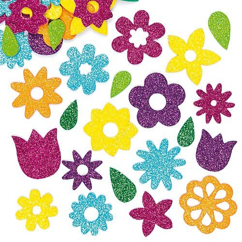 Baker Ross Flower Glitter Foam Stickers (Pack Of 120) For Kids Arts and Crafts