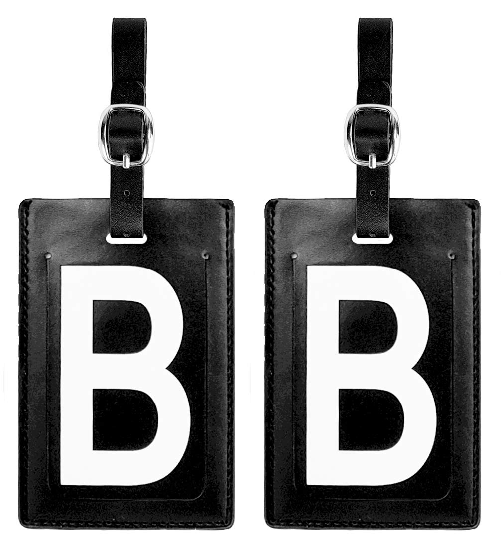 Personalized Leather Luggage Tags (Matching Set of 2): High-Contrast Debossed Initial B - Flexible Custom Travel Tags w/Extra Address Cards & Privacy Flap to Protect Personal Information (2-pack, B)