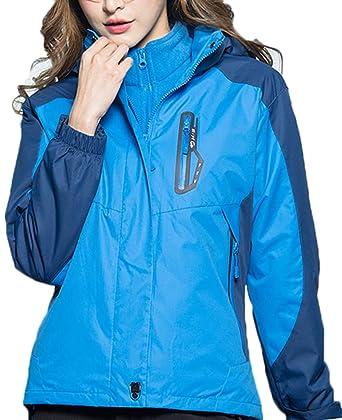 AbelWay Women s Mountain Waterproof Windproof Fleece 3 in 1 Jacket Ski  Hooded Rain Coat(Light bb0a91ac5