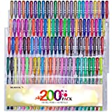 Reaeon 200+ Gel Pens Coloring Set Unique 100 Gel Colored Pen with 100 Refills for Adult Coloring Books, Drawing, Writing