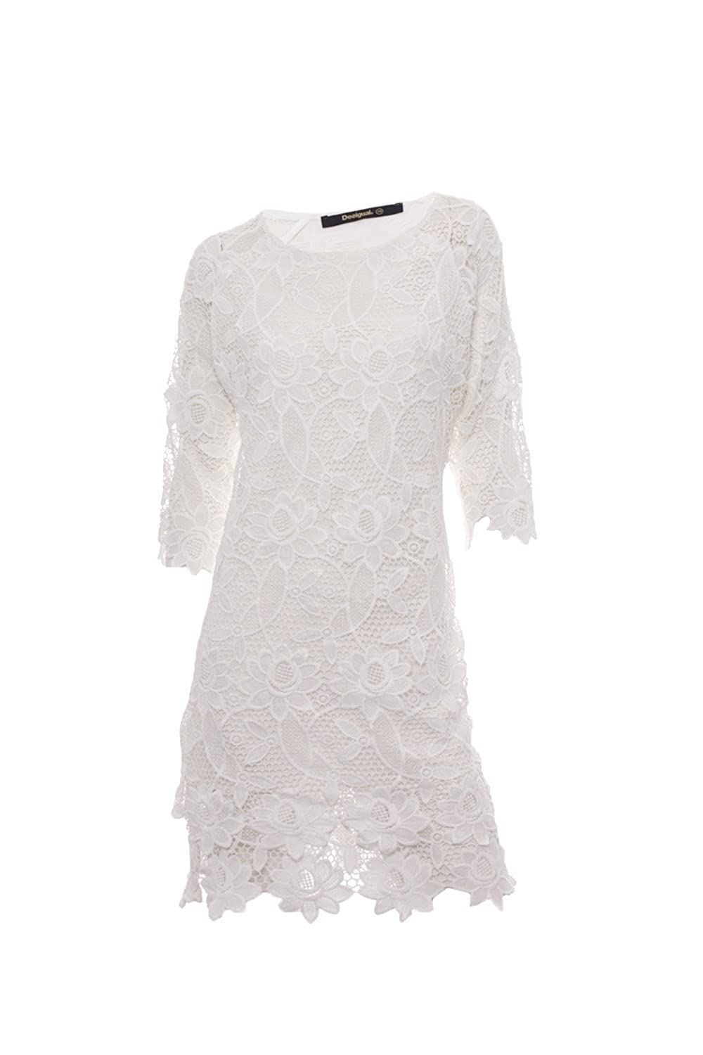 Desigual Dress Selsi White Crochet Lace 74v2wk6 At Amazon Womens