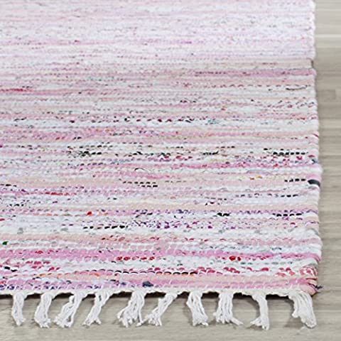 Safavieh Rag Rug Collection RAR125E Hand Woven Light Pink and Multi Cotton Area Rug (2' x 3') (Cotton Area Rugs 2x3)